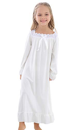 Horcute Girls Cotton Long Sleeve Sleep Shirts Nightshirts Pajamas Nightgown White 150# 11-12Y