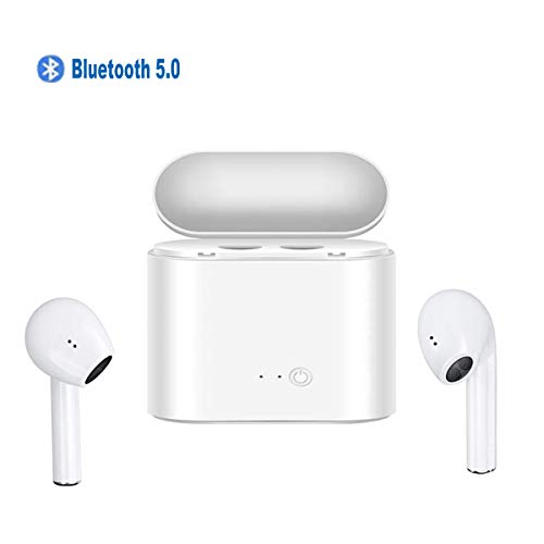 Somlato Bluetooth 5.0 Wireless Earbuds Bluetooth Earbuds Headphones Wireless with Wireless Charging Case Mini Car Headset Noise Cancelling Earphones (SW2)