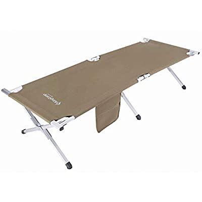 KingCamp Folding Camping Cot Lightweight Camping Bed Sturdy Aluminum Folding Bed for Adults with Carry Bag Portable Durable Heavy Duty Cot for Hiking, Camping, Travel, Hunting, Indoor Beige