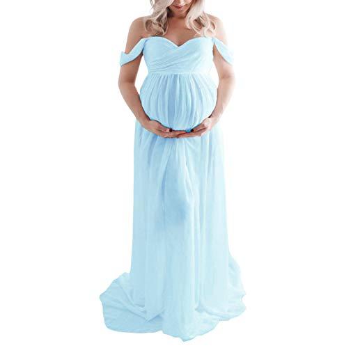 H1ING: Umstandskleid für Fotografie, schulterfrei, Chiffonkleid, geteilte Vorderseite, Maxi-Schwangerschaftskleider für Fotoshootings. Gr. Medium, blau