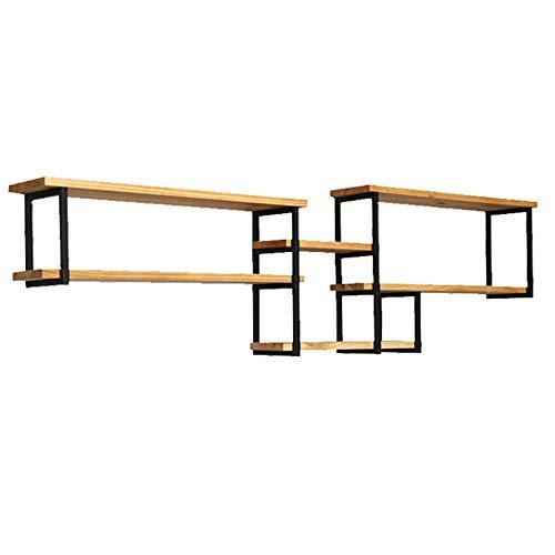 XiuHUa Wandplank, Europese minimalistische creatieve ambachtelijke wind smeedijzer Houten muur decoratieve muur plank, 150x25x55cm indoor decoraties