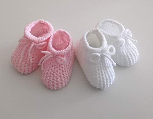 2 x Paar Baby-Schuhe, Rosa und Weiß, gestrickt