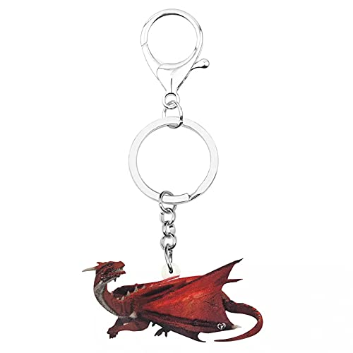 MINTUAN Acrílico Rojo Dinosaurio dragón llaveros Anillo Gran Animal Encantador joyería para Mujer Monedero Moda Regalo de cumpleaños