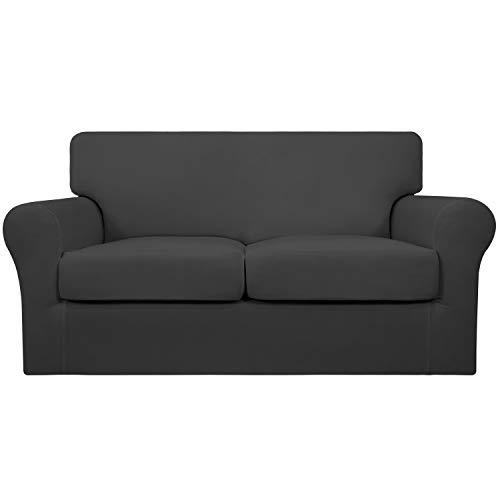 Easy-Going - Funda elástica para sofá (3 piezas, suave, lavable, para 2 cojines separados, protector de muebles para mascotas, niños, color gris oscuro