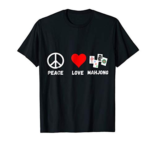 Mahjong Peace Love Playing Mah jongg Player Majiang T-Shirt