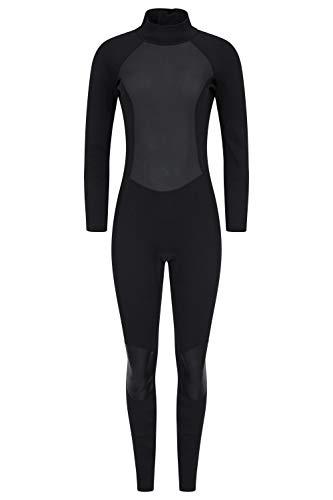 Mountain Warehouse Neopreno para Mujer - Cuerpo: 2.5mm, De una Sola Pieza, Cuello Ajustable y Cremallera de Cierre fácil, Mantiene el Calor - para Hacer Surf y Kayak Negro Jet 36-38
