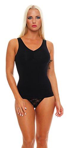 2 Stück Damen Form-Unterhemden Shapewear sanft formend verschiedene Farben kaschiert Taille und Bauch ohne Nähte Seamless Gr. 40/42 bis 52/54, 2x Schwarz, 40-42