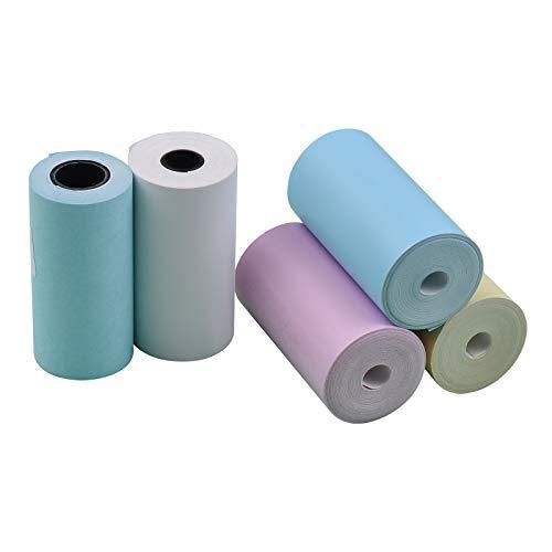 Aibecy Rollos de papel térmico de color de 4 rollos+1 rollo de...
