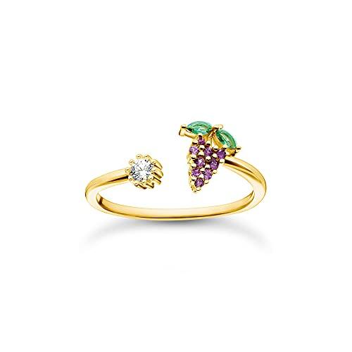 Thomas Sabo Anillo abierto para mujer, plata de ley 925, chapado en oro amarillo 750 con circonitas en verde, lila y blanco, talla 58, TR2354-971-7-58