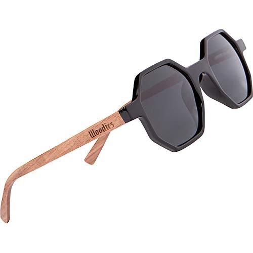 Woodies - Gafas de sol hexagonales de madera de nogal con lentes polarizadas negras para hombres o mujeres