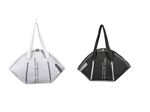 NOMUSING Fashion Style Mask Handtasche - Handtaschen mit großer Kapazität Casual Women Canvas Shopping Bags Kreative Maskentasche (Schwarz+Weiß)