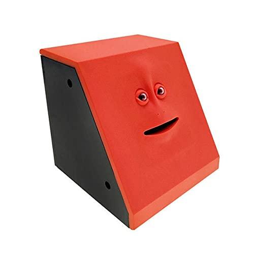 Hucha de dinero para comer dinero en la cara, caja de ahorro de monos, caja de ahorros automáticos para comer monedas Facebank hucha novedad regalo para niños (color rojo)
