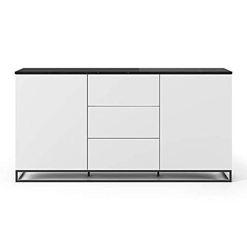 Buffets Design et élégants, Collection Join, signée TEMAHOME. - Join 180H1, piétement Acier Noir, Blanc Mat, Plateau en marbre