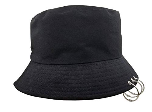 Unisex Bucket-Hat Cotton Fishmen-Cap with Rings Black
