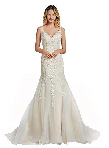 Special Bridal Women's Lace Simple Wedding Dress for Bridal Mermaid Fit and Flare Applique Beach Wedding Dress