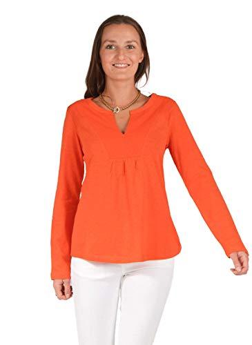 Ex White Stuff Notch U-Ausschnitt Relaxed Jersey Tunika Top Langarm Gr. 36, Orange