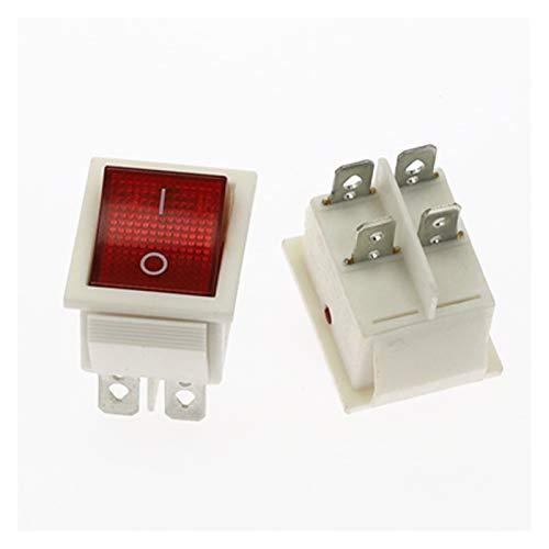 YSYSPUJ 1 UNIDS KCD4 Rocker Interruptor Encendido-Apagado 2 Posición 4 Pines / 6 Pines Equipo eléctrico con Interruptor de alimentación Ligera 16A 250VAC / 20A 125VAC (Color : Red 4Pin)