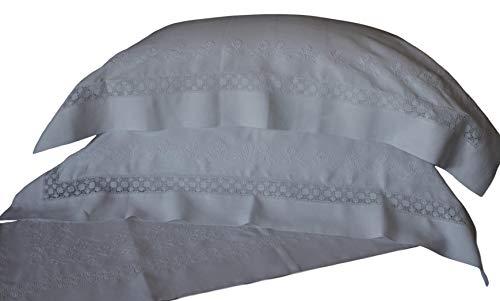RICAMI FIORENTINI BALDI Bettlaken 270 x 300 cm + 2 Kissenbezüge. 100% Leinen, Stickerei im Antik-Stil – Stich Sodo – Stich Schatten – Lattenrost