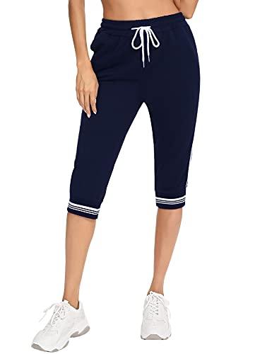 Irevial 3/4 Pantalones Deporte Mujer Casual Capri Pantalón Deporte Verano Pantalones Chándal con Cordón Ajustable y Bolsillos para Fitness Correr Running Azul Real, XL