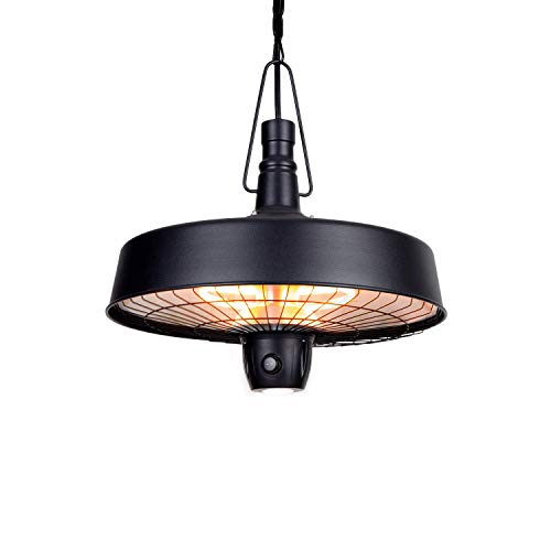 blumfeldt Camden Heat Deluxe Infrarot-Heizstrahler - IR ComfortHeat, Schutzklasse: IP24, LED-Lampe, Carbon-Heizelement, 3 Stufen: 1000 / 1500 / 2500 W, Deckeninstallation, Retro-Design, schwarz