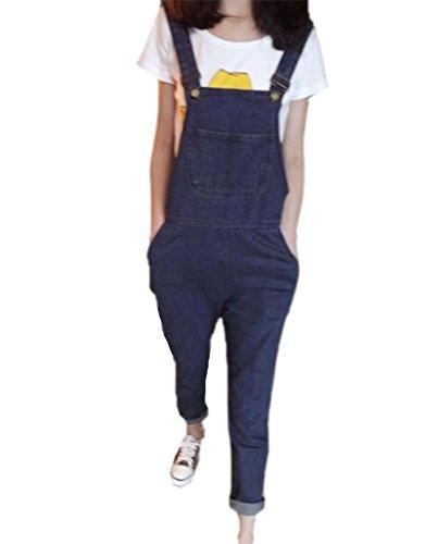 Huateng Denim Latzhose Locker Overall,Overall mit Taschen für Frauen