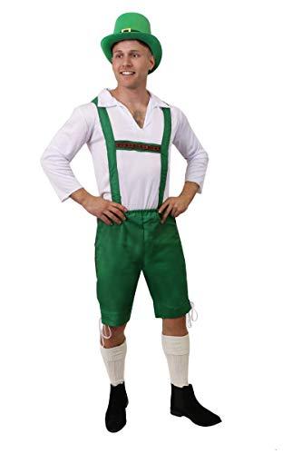 I LOVE FANCY DRESS LTD Disfraz DE Duende IRLANDÉS para Adultos - Pantalones Verdes + Camisa Blanca + Sombrero DE Copa Verde con Hebilla Disfraces DE DÍA DE San Patricio (Talla: Mediano)