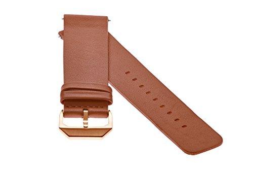 slow - Braunes Lederband mit Rose goldenem Verschluss - 20mm Breite