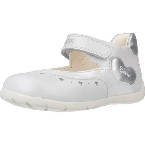 Geox B Kaytan D, Bailarinas para Niñas, Blanco (White/Silver C0007), 21 EU