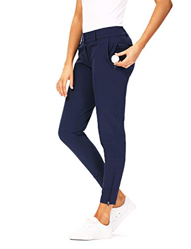 Hiverlay Womens pro Golf Pants Quick Dry Slim Lightweight Work Pants with Straight Ankle Also for Hiking or Casual Ladies,Deepblue-m