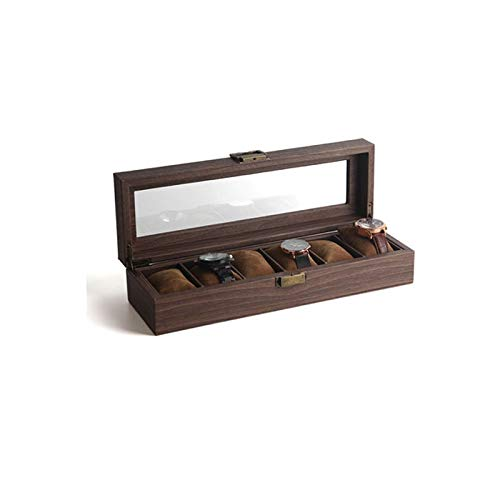 Lanya Portable Watch Box Storage Box Wooden Jewelry Box 6-Slot Case Men'S Display Storage Box with Fluffy Pillow. 0219 (Color : Brown)