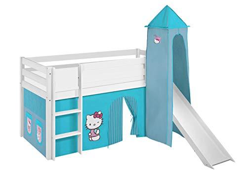 Lilokids Lit Mezzanine JELLE Hello Kitty Turqois - lit d'enfant Blanc - avec Toboggan, Tour et Rideau - lit 90x200 cm