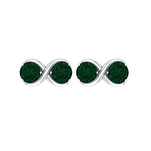 1 CT Infinity Stud con turmalina verde, dos pendientes de piedra (4 mm, turmalina verde de corte redondo), 14K Oro blanco, Par