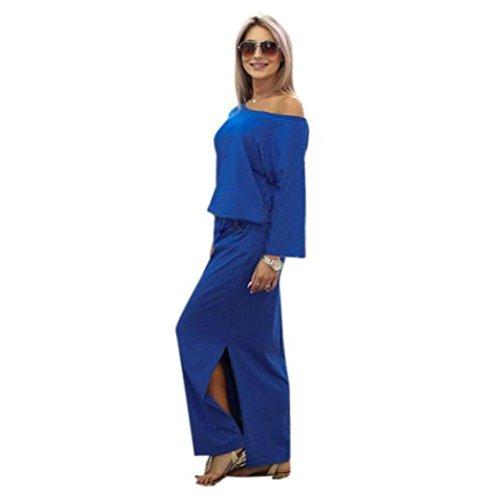 Robe pour Femmes, Toamen Robe avec poche Manche courte Fente latérale largeur Longue Été Soir Fête (S, Bleu)