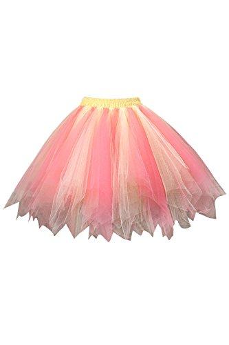Damen Tütü Rock Retro Petticoat Ballett Rock 50er Tutu Unterrock Gelb Rosa One Size
