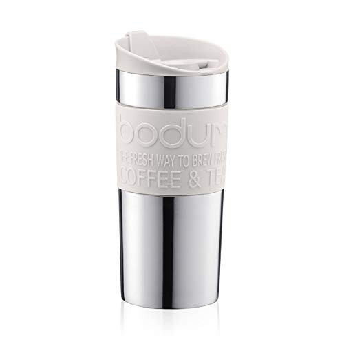 Bodum Vacuum Tazza da viaggio in acciaio INOX con coperchio e banda bianchi, piccola, 0,35 l