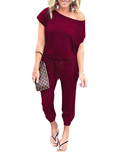 PRETTYGARDEN Women's Loose Solid Off Shoulder Elastic Waist Stretchy Long Romper Jumpsuit with Pockets Wine Red