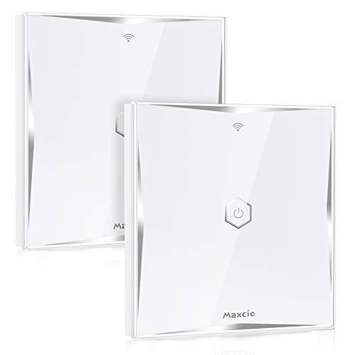 Interruptor Conmutador WiFi, Maxcio Interruptor de Luz 2 Vías Compatible con Alexa Echo/Dot/Tap, Google Home, Interruptor Táctil de Pared WiFi con Temporizador(2 Packs)