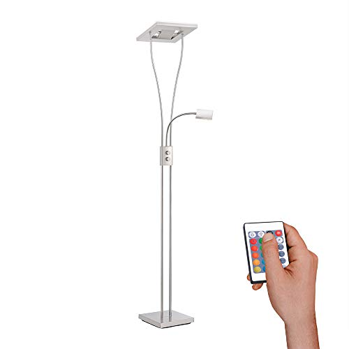 LED Deckenfluter mit Leseleuchte, IP 20, warmweiss, Stehleuchte, dimmbar mit Fernbedienung, RGB-Farbsteuerung, Standlampe, silber