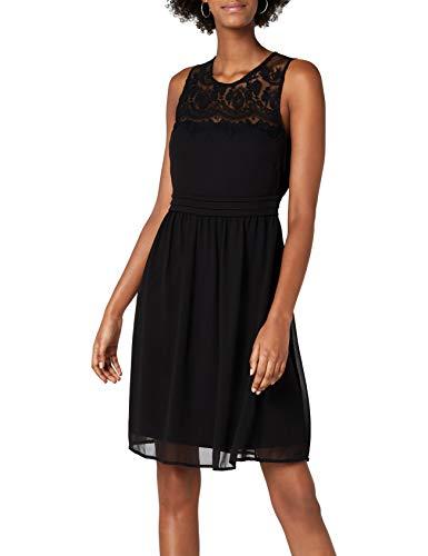 VERO MODA Damen VMVANESSA SL Short Dress NOOS Kleid, Schwarz (Black Black), 36 (Herstellergröße: S)