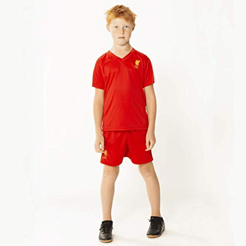 Liverpool Morefootballs - Offizielles FC Heimspiel Trikot Set für Kinder - Saison 19/20 - Größe: 116 - Vollständiges Heim Tenue mit Trikot und kurzer Hose - Shirt und Shorts