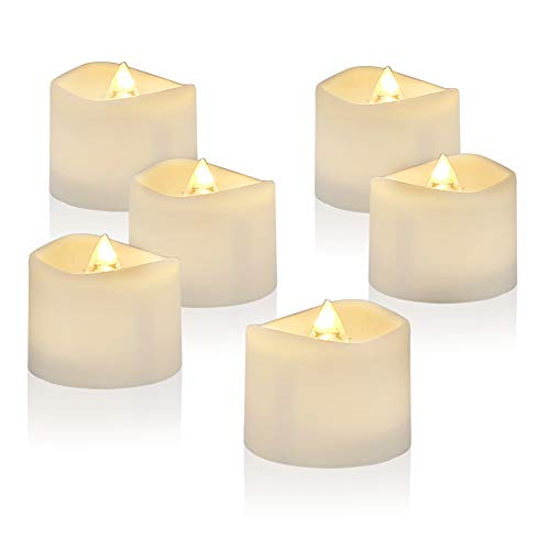 Amagic LED Tea Light Candles 12 Pack, Battery Tea Lights Bulk Flickering with Warm White, Electric Tealights for Thanksgiving Christmas Decor, Durable Batteries with Long Lifetime, D1.4'' H1.25''