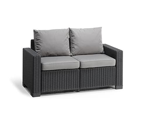 """Allibert by Keter"" Gartenlounge Sofa California 2-Sitzer, graphit/panama cool grey, inkl. Sitz- und Rückenkissen, Kunststoff, runde Rattanoptik"