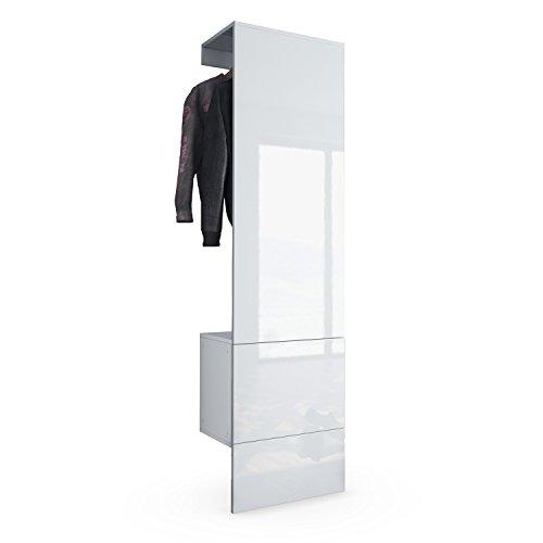 Armario de Pared Carlton Set 5, Cuerpo en Blanco Mate/Panel en Blanco de Alto Brillo