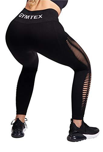 GYMTEX Sport Leggings Damen Seamless I Deutsche Marke I Nahtlos, Blickdicht und High Waist für Yoga und Fitness I Sportleggins Damen in Grau, Rosa Meliert GT1901 (S, Schwarz)