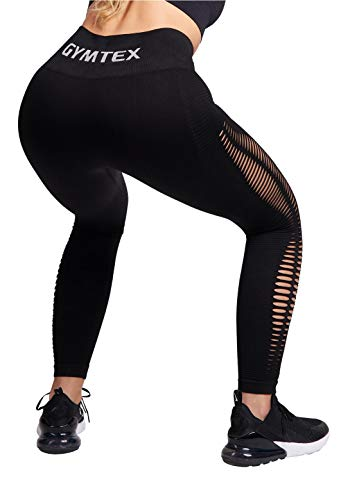 GYMTEX Leggings deportivos para mujer, sin costuras, opacos y de cintura alta para yoga y fitness, color rosa, GT1901 Negro S