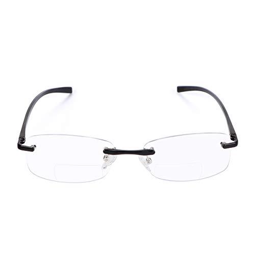 Randlos Bifokale Lesebrille Blau Licht blockierende Computer Brille mit Federbügelscharnier Vintage für Unisex Frauen Männer Nah und Fern Titanlegierung Vergrößerungs Blaulichtfilter Presbyopie Leser