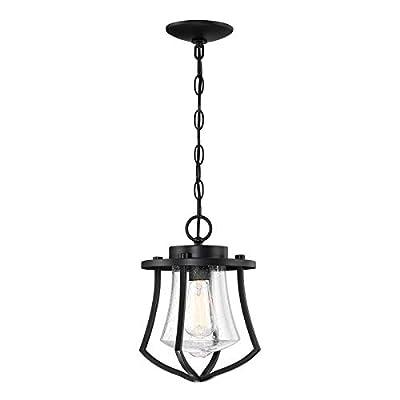 MOTINI Outdoor Pendant Light Fixture for Porch, 1-Light Exterior Hanging Lantern Industrial Hanging Light, Vintage Cage Pendant Light with Glass Shade?60W E26/Medium Base