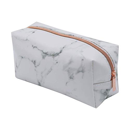 Rumfo Cosmetic Toiletry Makeup Bag Pouch Gold Zipper Storage Bag Marble Pattern Portable Makeup Brushes Bag (Rose Gold)…