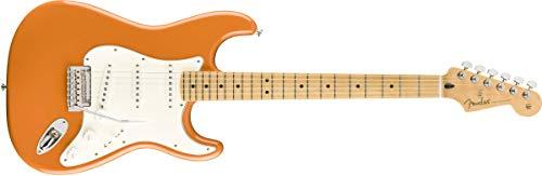 Fender Guitarra eléctrica de cuerpo sólido de 6 cuerdas, derecha, naranja, completa (144502582)