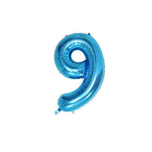 Globos azules de 100 cm con números para cumpleaños, bodas, aniversarios, fiestas, decoración de globos (número 9)
